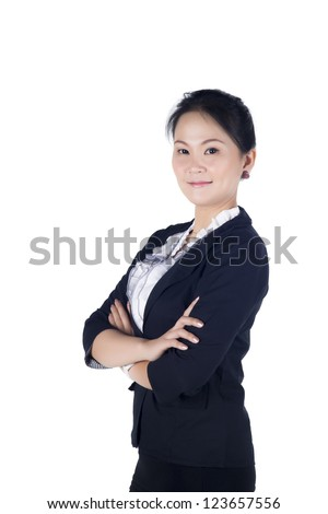 Portrait of a business woman standing with confident smiley face isolated on white background, model is a asian woman