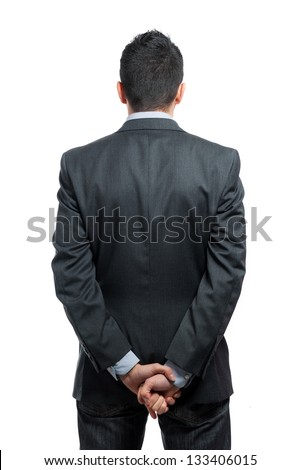 Portrait of a businessman back view isolated on white background. Studio shot.
