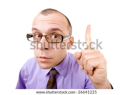 Portrait of a businessman pointing his finger up