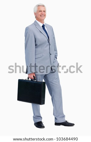Portrait of a businessman with a suitcase against white background
