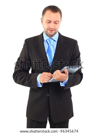Portrait of a businessman with a tablet computer against a white background