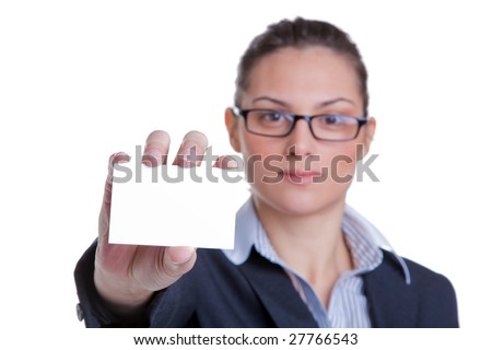 Portrait of a businesswoman presenting her business card, focus on card, isolated on white background