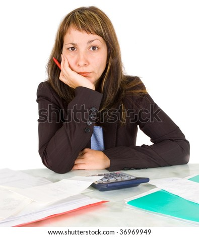 portrait of a businesswoman with a calculator