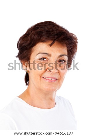 Portrait of a casual senior woman isolated on white