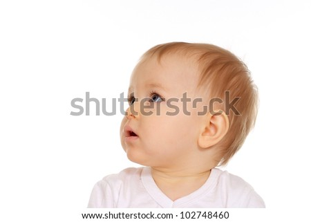 Portrait of a caucasian baby good on a white background