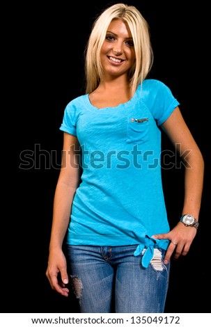 Portrait of a Caucasian female on black background