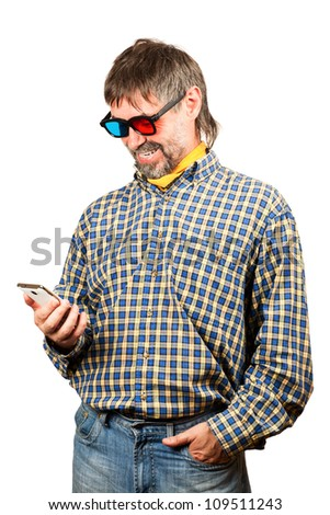 portrait of a charismatic senior watching 3-D movies on a phone.