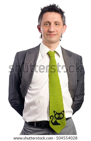 Portrait of a cheerful businessman over white background