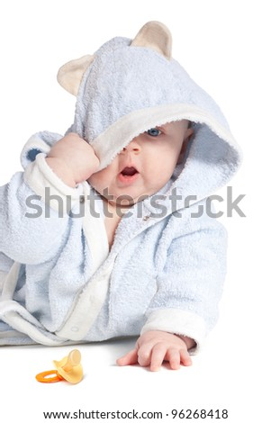 portrait of a cheerful child in blue bathrobe, isolated over white