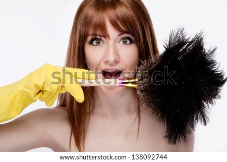 portrait of a cheerful maid with a brush dust