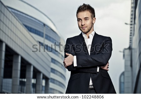 Portrait of a cheerful young businessman