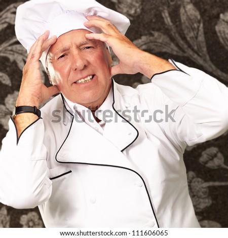Portrait Of A Chef Having Headache, Indoor