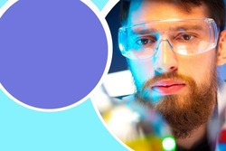 Portrait of a chemist. Chemist face next to test tube. Copy space for chemistry. Close-up of laboratory assistant's face. Space for text on a purple background. Career as a lab chemist.