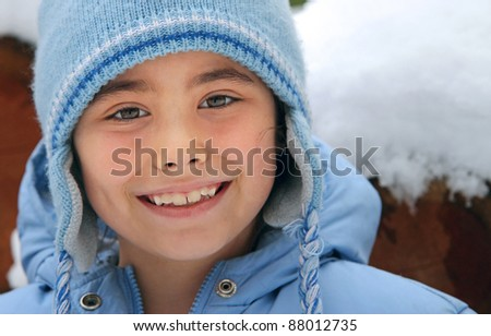 Portrait of a child during winter