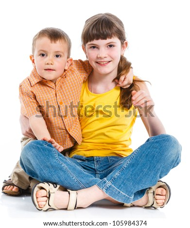 Portrait of a child, the love of brother and sister. Isolated white background