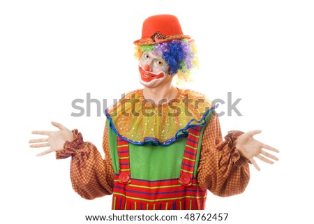Portrait of a clown. Isolated on white background