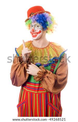 Portrait of a clown point a finger up