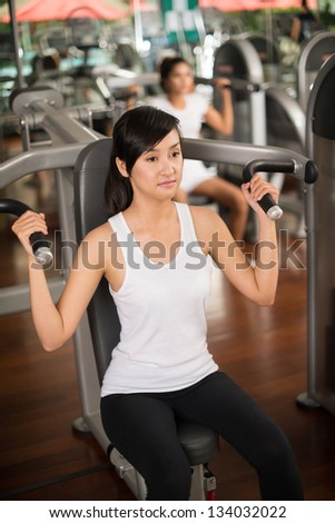 Portrait of a concentrated sportswoman in the gym