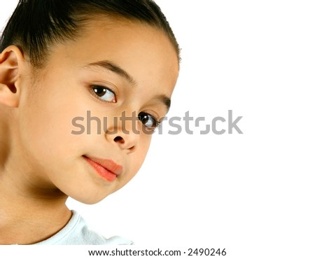 Portrait of a confident and proud young ballerina, isolated on white background. - stock photo