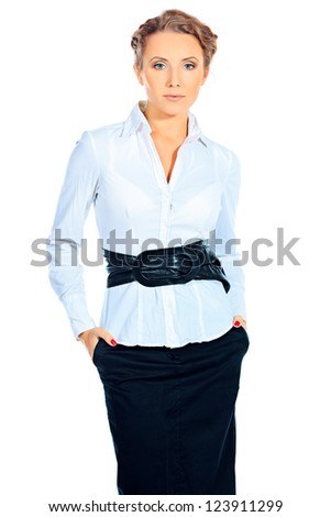 Portrait of a confident business woman. Isolated over white.