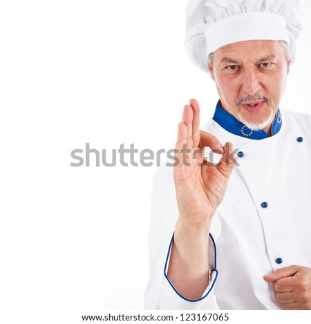 Portrait of a confident chef doing ok sign