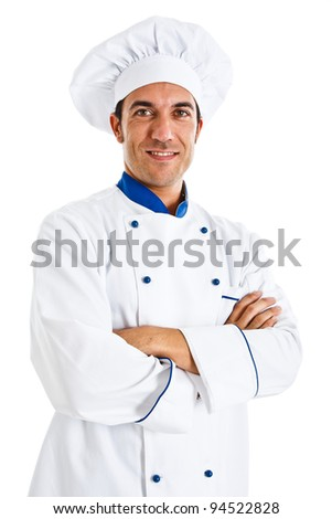 Portrait of a confident chef isolated on white