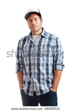 Portrait of a confident young student isolated on white background - stock photo