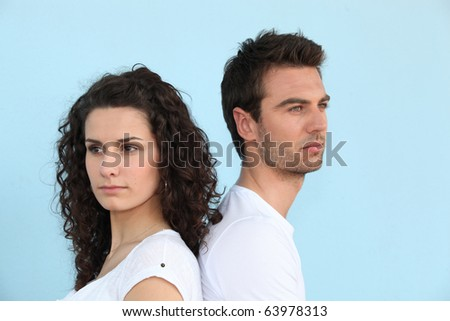 Portrait of a couple turning back