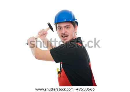 Portrait of a crazy construction worker