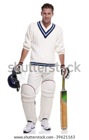 Portrait of a cricket player, studio shot on a white background.