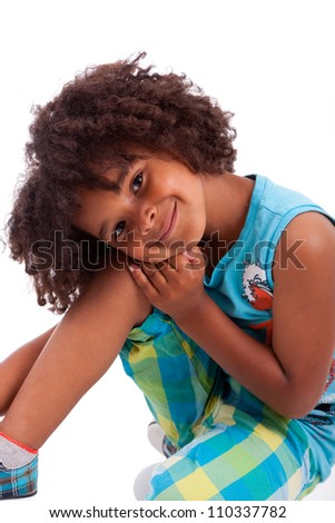 Portrait of a cute african american little boy, isolated on white background
