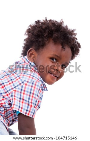 Portrait of a cute black baby boy, isolated on white background