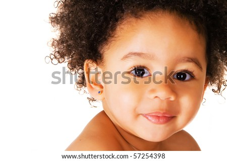 Portrait of a cute child on a white background