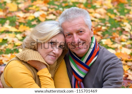portrait of a cute elderly couple in autumn park
