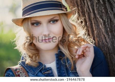 portrait of a cute girl in a hat Stock fotó ©