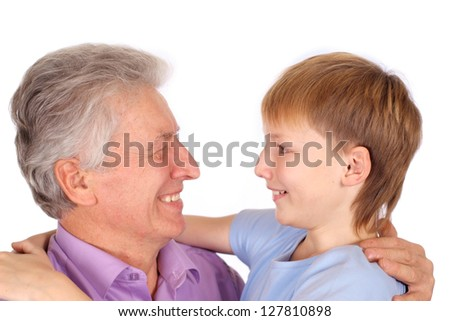 portrait of a cute grandfather with kid