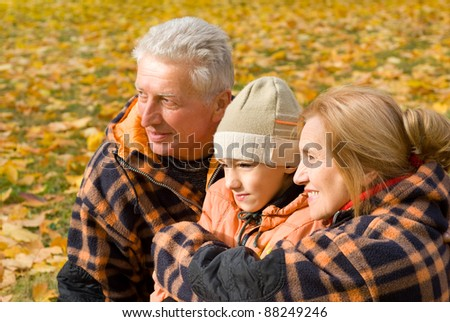 portrait of a cute grandparents  with grandchild