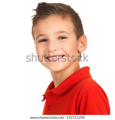 Portrait of a cute happy boy looking at camera with pretty smile. Photo on white background
