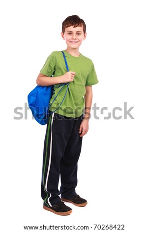 Portrait of a cute kid in sportswear, isolated on white background