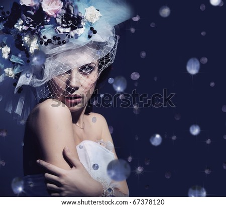 Stock Photo Portrait of a cute lady with diamonds