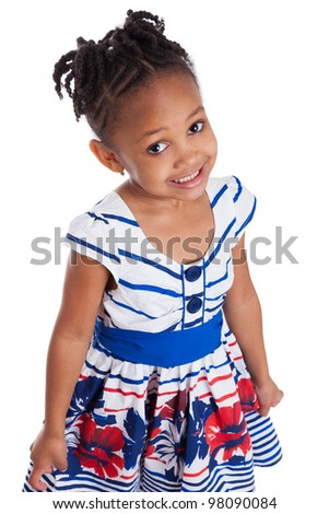 Portrait of a cute little african american girl, isolated on white background
