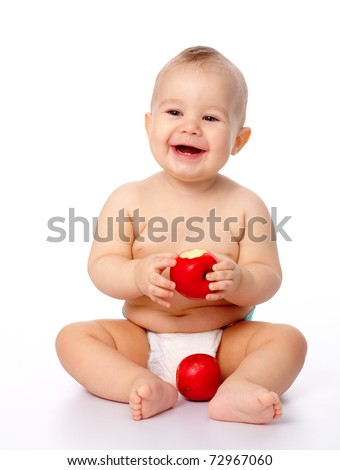 Portrait of a cute little child with two red apples, isolated over white - stock photo