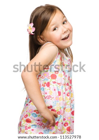 Portrait of a cute little girl, isolated on white - stock photo