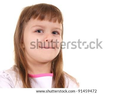 portrait of a cute little girl on white