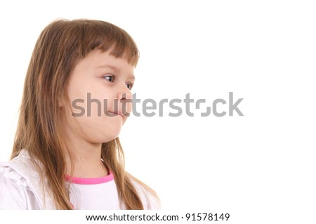 portrait of a cute little girl on white