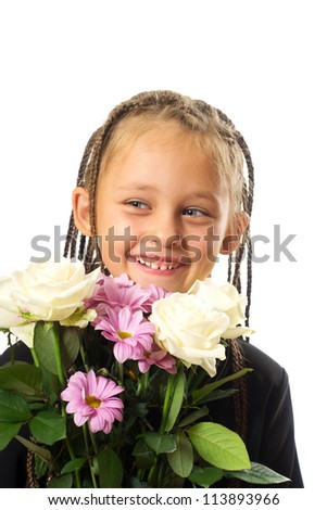 portrait of a cute little girl with pigtails and a bouquet of flowers