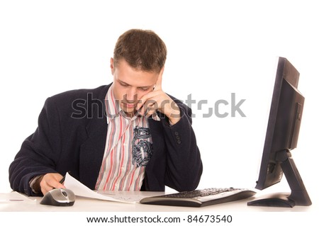 portrait of a cute man at computer