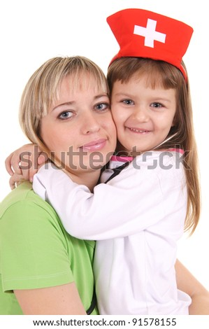 portrait of a cute mom with little nurse