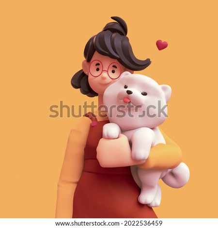 Portrait of a cute smiling brunette girl in red glasses wearing brown apron, yellow t-shirt holding a large fluffy white playful puppy under her arm. Animal lover. 3d illustration on orange background
