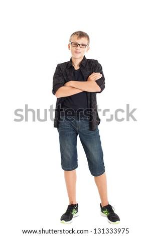 ... boy-wearing-a-black-shirt-denim-shorts-and-sneakers-the-boy-wearing